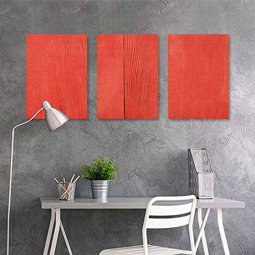 - HOMEDD Canvas Print Artwork Sticker,Coral Vintage Wood Board Plank Texture Image Aged Barn Door Lumber Grunge Natural Surface,On Canvas Abstract Artwork 3 Panels,16x24inchx3pcs Dark Coral