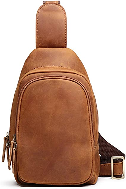 vintage Mens Crazy horse leather chest bag Business Casual Outdoor Sling Bag Brown
