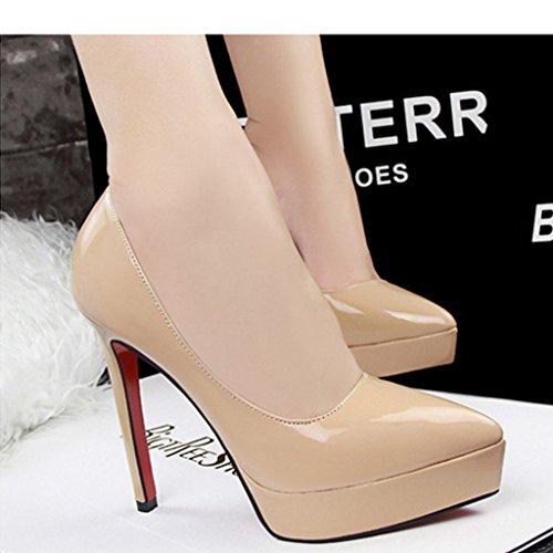 Abricot Plateforme Sexy Escarpins Minetom Printemps Talon Epais Bride Soirée Chaussures Club Cheville Aiguille Été Femme 12CM gqZxqwF1f