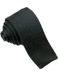 """Men's 2.17"""" Slim Neck Tie Handmade Knit Square Flat End Necktie"""