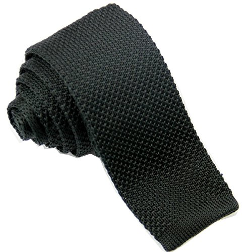 D.berite Men's 2.17 Slim Neck Tie Handmade Knit Square Flat End Necktie Solid Black