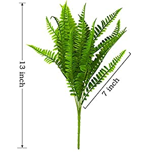 Bird Fiy 4Pcs Artificial Boston Fern Bush Plant Shrubs Greenery Bushes Indoor Outside Home Garden Office Verandah Wedding Decor 2