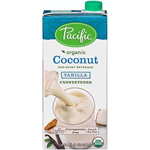Pacific Foods Organic Coconut Non-Dairy Beverage, Unsweetened Vanilla, 32-Ounce, (Pack of 12)
