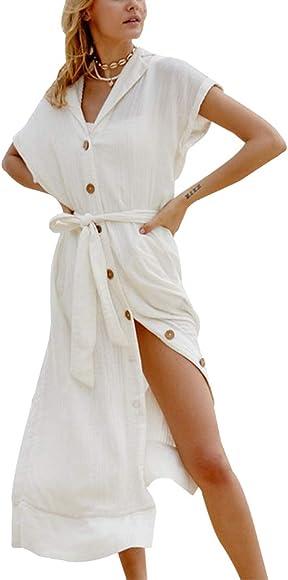 Wantbgd Ropa Playa Mujer Bikini Cover up Traje de Baño Vestido Verano Largo Algodón: Amazon.es: Ropa y accesorios