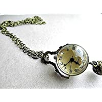 Victorian Style Clock Watch Pendant Necklace Mechanical movements, steampunk, brass necklace, pocket-watch necklace, watch necklace