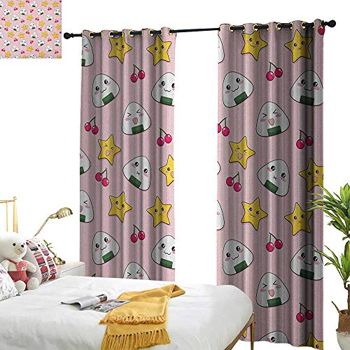 (Littletonhome Thermal Curtains Anime Happy Crying Cute Cartoon Rice Balls Cherries Stars Pattern on Stripes Art Noise Reducing W120 x L84 Pink Yellow and White)