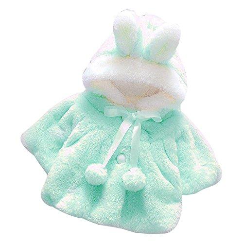 Infant Baby Girls Autumn Winter Fur Warm 3D Cartoon Rabbit Ear Hooded Coat Cloak Jacket Thick Outerwear Clothes (Blue, 6-12 Months)