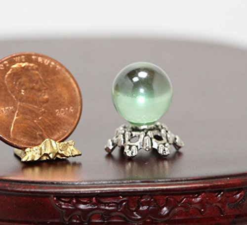 Dollhouse Miniature Green Fortune Tellers Crystal Ball on Silver Base