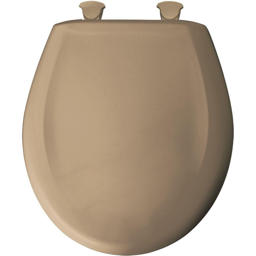 Bemis 200SLOWT 148 Lift-Off Plastic Round Slow-Close Toilet Seat Sand