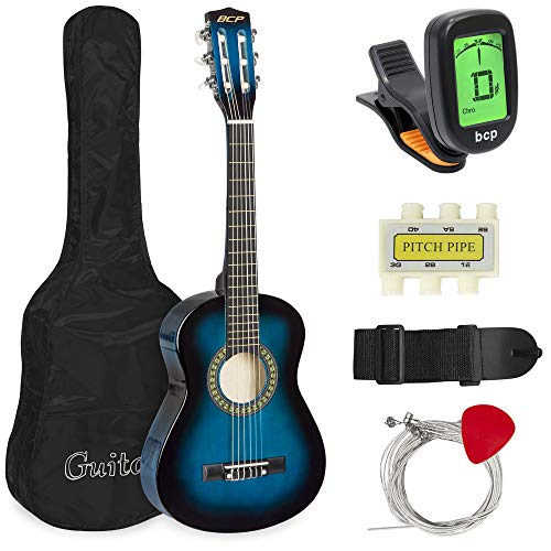 Best Choice Products 30in Kids Classical Acoustic Guitar Complete Beginners Kit w/Carrying Bag, Picks, E-Tuner, Strap (Blue)