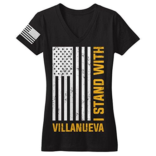 'I Stand With Villanueva' American Flag Women's V-Neck Shirt (Medium, Black)