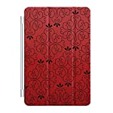 Custom Smart Cover (Magnetic) for Apple iPad Air - Red Black Floral Pattern