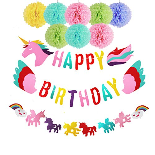 iROLEWIN Birthday Party Decorations for Girls, Happy Birthday Unicorn-Banner Rainbow Themed Party Supplies Decorations, Tissue Pom Poms Flowers Kit