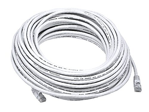 Monoprice Cat5e Ethernet Patch Cable - Network Internet Cord - RJ45, Stranded, 350Mhz, UTP, Pure Bare Copper Wire, 24AWG, 75ft, White ()