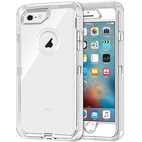 iPhone 6S Plus Case, iPhone 6 Plus Case, Anuck 3 in 1 Hybrid Heavy Duty Defender Case Shock Absorption Crystal Clear Protective Hard Shell Shockproof TPU Cover for iPhone 6 Plus/6S Plus - Transparent