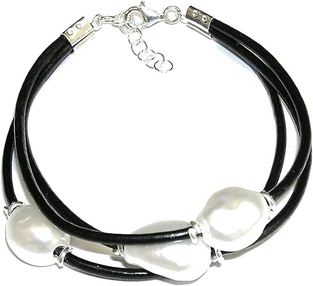 Pulsera de Perlas Cultivadas Barrocas Blancas con Cuero Natural y Plata de Ley