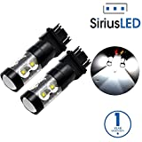 SiriusLED Extremely Bright 50W Dual Brightness Projector LED Bulbs for Turn Signals Daytime Running DRL Brake Tail Lights Parking Stop 3157 3157A 3057 4157 6000K Xenon White