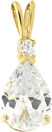 14K Pure Solid Yellow//White Gold Pear Earrings April Birthstone Set with CZ
