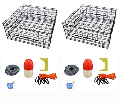 2-Pack of KUFA 28'' Vinyl Coated crab trap & accessory kit (100' Non-Lead sinking line,Clipper,Harness,Bait Bag & 14'' Float) (S70+CAS3)x2 by KUFA