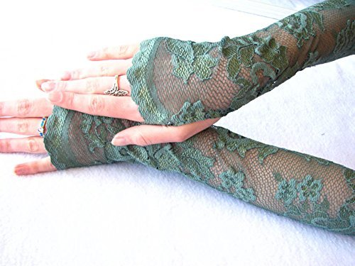 [Emerald City Fingerless Lace Gloves Halloween Poison Ivy] (Ivy Costumes Halloween)