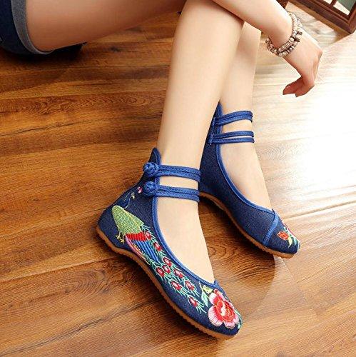 zapatos navy tela ¨¦tnico moda aumento estilo casual Zapatos de blue lenguado tend¨®n xiuhuaxie c¨®modo del dentro del GuiXinWeiHeng femenina bordados U8vqF