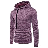 vermers Hot Sale Men's Casual Long Sleeve Zipper Hoodie Sweatshirt - Mens Fashion Personality Hooded Outwear Tops(XL, Purple)