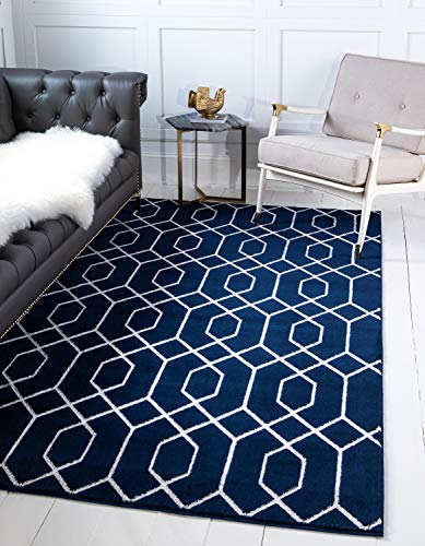 Unique Loom Marilyn Monroe Glam Collection Textured Geometric Trellis Navy Blue Silver Area Rug (5' 0 x 8' 0)