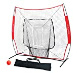 Big Red Deluxe 7' x 7' Baseball and Softball Practice Net (Bundle with Strike Zone and Weighted Training Ball)