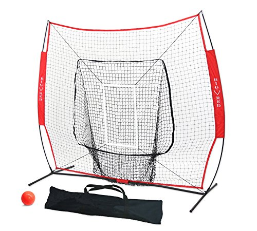 Big Red Deluxe 7' x 7' Baseball and Softball Practice Net (Bundle with Strike Zone and Weighted Training Ball) by Unknown