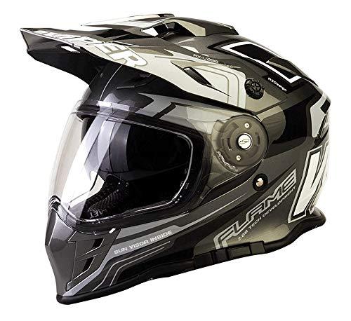 Doppeltes Visier Viper rx-v288 Motocross Motorrad Quad Dirt Bike ATV Off Road Enduro Race Erwachsenen MX Helm (Flame schwarz)