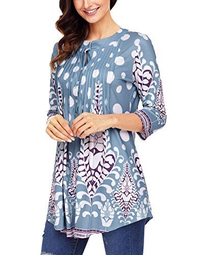 ose Hem Button Up Shirts Long Blouse Tunics Light Blue3 Small ()