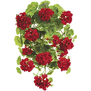 "Ten Waterloo 22"" UV Protected Artificial Geranium Hanging Bush, Red 95"