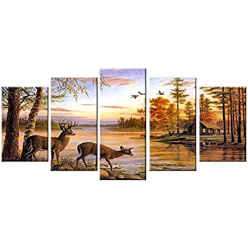 Deer Pictures Wall Decor Art Canvas Prints Large 5 Piece Moose Wildlife Themed Artwork Country Peaceful Landscape Photo for Bathroom Living Room Bedroom Home Decoration
