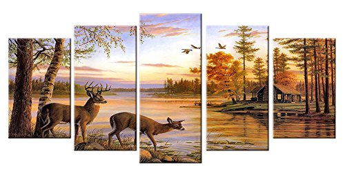 Deer Pictures Wall Decor Art Canvas Prints Large 5 Piece Moose Wildlife Themed Artwork Country Peaceful Landscape Photo for Bathroom Living Room Bedroom Home - Wall Decor Art Deer