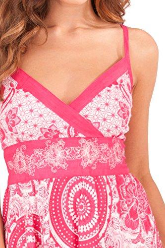 Rodilla para Veraniego la Plisado Pink Circle Pistachio Dama a Vestido qwd50q