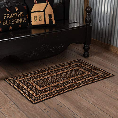 (Classic Country Primitive Flooring - Farmhouse Jute Black Rug, 2'3