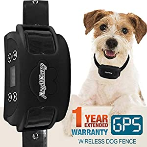 AngelaKerry Wireless Dog Fence System with GPS, Outdoor Dog Containment System Rechargeable Waterproof Collar 850YD Remote for 15lbs-120lbs Dogs (Black, 1pc GPS Receiver by 1 Dog)