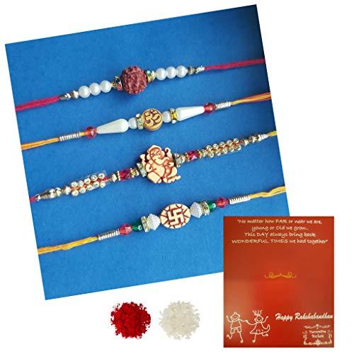 (DECORATIVE BUCKETS Adult Rakhi :Rakhi for Brother : Pack of 4 Rakhi :Combo of 4 Rakhi with Free Greeting Card Roli & Chawal Rakhi for bhaiya)