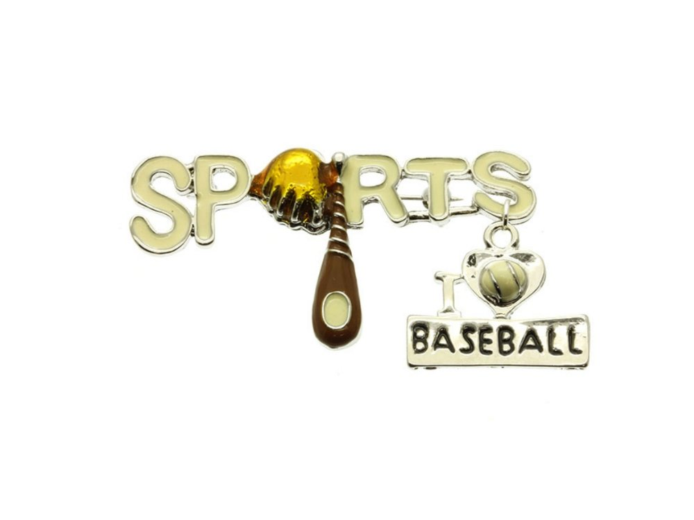 Occasions Gift Giving Crystal Stone I Love Baseball Pin and Brooch