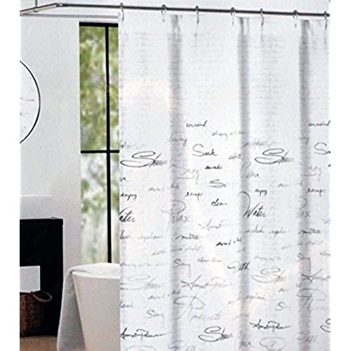 Tahari Fabric Shower Curtain Gray Words Writing On White Script