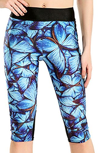 Happy Cool Women's Printed High Waist Workout Fitted Stretch Yoga Capri Leggings Blue Butterfly US 20-22