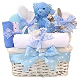 Angel DELUXE Baby Boys Gift Hampers Blue Baby Shower Boy Newborn Hamper Gift for Boys / New Born Baby Boy Gifts Baskets Personalised Sets / Nappy Cake Boy / Unique Mum To Be Maternity Set / FAST DISPATCH