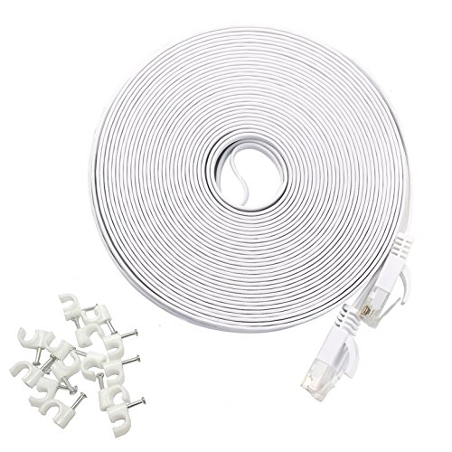 HANYUN Cat6 Ethernet Cable 200 foot/60 Meters White - 1000Mbps 250MHz Ethernet Patch Internet Cable with Cable Clips, with Snagless Connectors for PS4, Xbox, Switch Boxes, Modem, Router