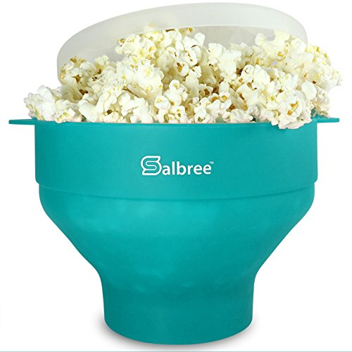 Original Salbree Microwave Popcorn Popper, Silicone Popcorn Maker, Collapsible Bowl – The Most Colors Available (Aqua)