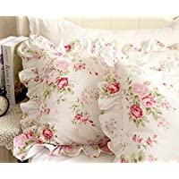 """FADFAY Shabby Pink Rose Floral Print Pillowcases Elegant Country Style Vintage Lace Ruffles Bedding Pillow Covers Standared Size 19"""" x 29"""" (Twin/Full/Queen, Bulgaria Rose,Ruffle Style)"""
