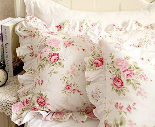 FADFAY Shabby Pink Rose Floral Print Pillowcases Elegant Country Style Vintage Lace Ruffles Bedding Pillow Covers Standared Size 19'' x 29'' (Twin/Full/Queen, Bulgaria Rose,Ruffle Style) by FADFAY