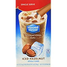 Maxwell House International Coffee Hazelnut Iced Latte Singles, 6 Count, 3.42-Ounce Boxes (Pack of 8)