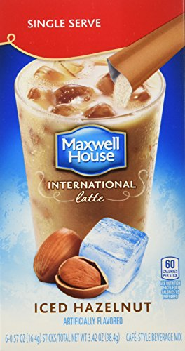 Maxwell House International Coffee Hazelnut Iced Latte Singles, 6 Count, 3.42-Ounce Boxes (Pack of 8) -