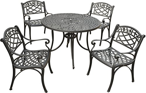 dona 5-Piece Solid-Cast Aluminum Outdoor Dining Set with 42-inch Table and 4 Arm Chairs - Black (Aluminum Outdoor Dining Chair)