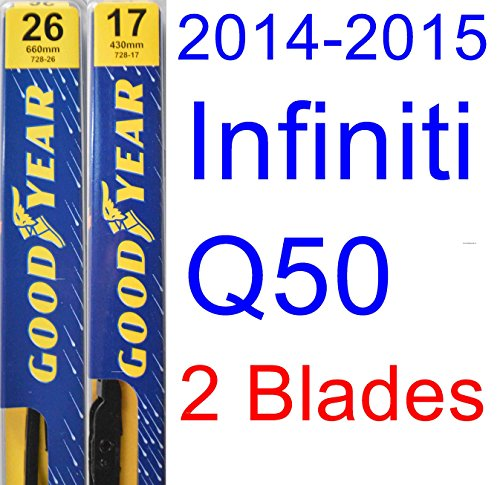 2014-2015 Infiniti Q50 Replacement Wiper Blade Set/Kit (Set of 2 Blades) (Goodyear Wiper Blades-Premium)
